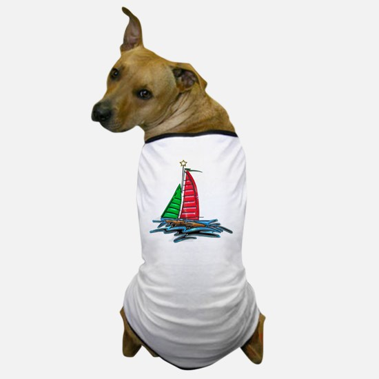 Red & Green Christmas Sailboat Dog T-Shirt