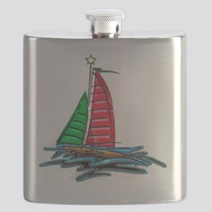Red & Green Christmas Sailboat Flask