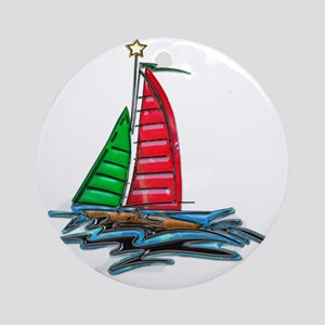 Red & Green Christmas Sailboat Round Ornament