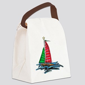 Red & Green Christmas Sailboat Canvas Lunch Bag