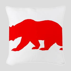 Red California Bear Woven Throw Pillow