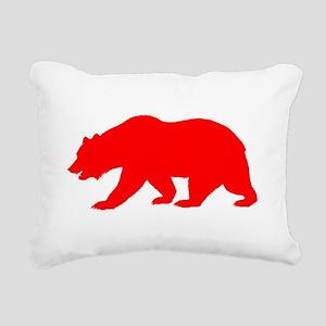 Red California Bear Rectangular Canvas Pillow
