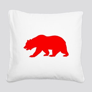 Red California Bear Square Canvas Pillow
