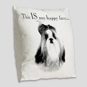 Shih Tzu Happy Face Burlap Throw Pillow