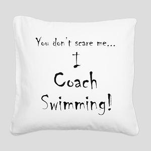 I Coach Swimming Square Canvas Pillow