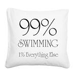 99% Swimming Square Canvas Pillow