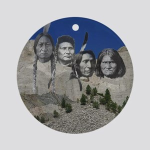 Native Mt. Rushmore Ornament (Round)