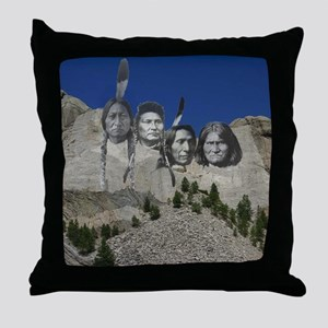 Native Mt. Rushmore Throw Pillow