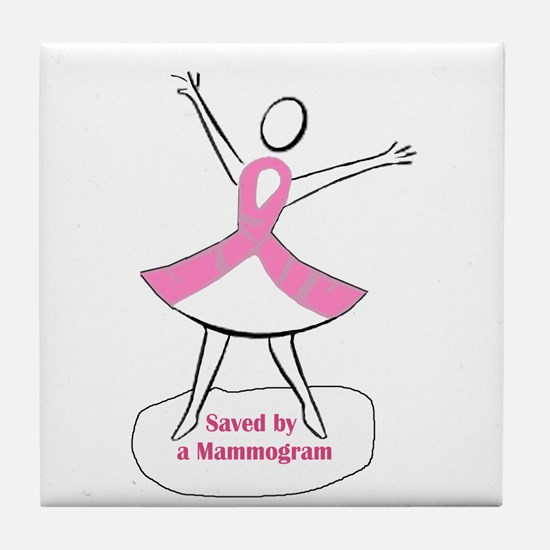 Saved by a Mammogram Tile Coaster