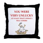 Unlucky gifts and t-shirts. Throw Pillow