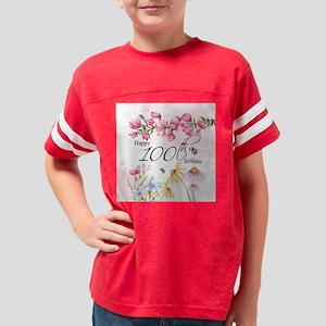 100th Birthday Watercolor Flo Youth Football Shirt