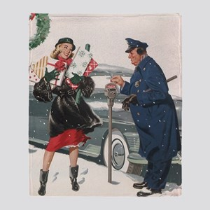 Vintage Christmas Shopping Throw Blanket
