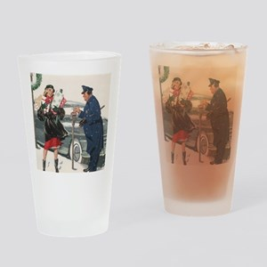 Vintage Christmas Shopping Drinking Glass