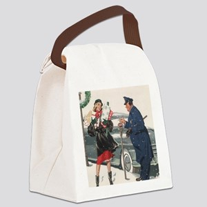 Vintage Christmas Shopping Canvas Lunch Bag