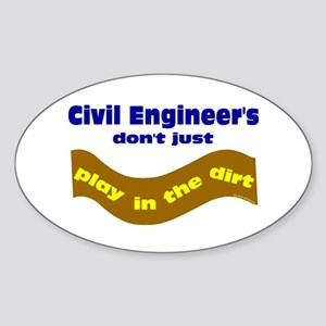 Civil Engineers Play Oval Sticker
