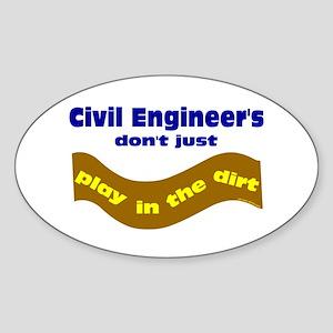 Civil Engineers Play Oval Sticker