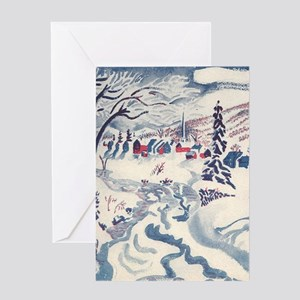 Vintage Winter Village Greeting Card