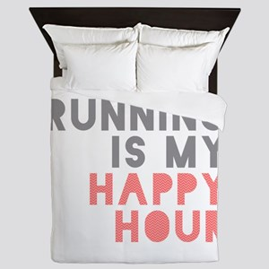Running Is My Happy Hour Queen Duvet