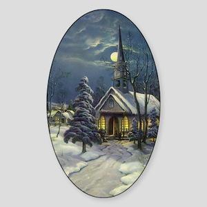 Vintage Church in Winter Snow Sticker (Oval)
