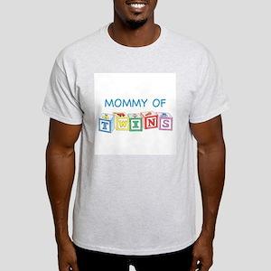 Mommy of Twins Blocks Ash Grey T-Shirt