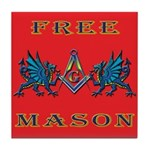 Free Mason and Blue Dragons Tile Coaster