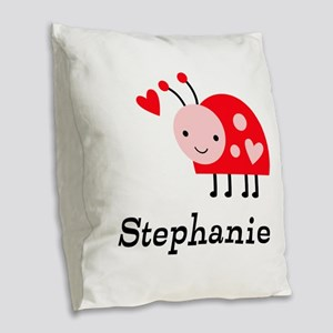 Ladybug (p) Burlap Throw Pillow