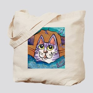 Fun Happy Purple Cat Tote Bag