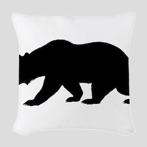 Black California Bear Woven Throw Pillow
