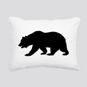 Black California Bear Rectangular Canvas Pillow