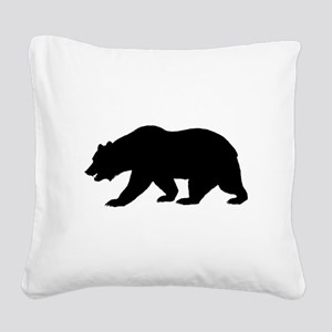 Black California Bear Square Canvas Pillow