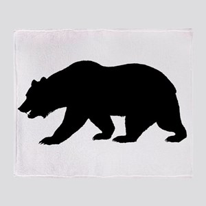 Black California Bear Throw Blanket
