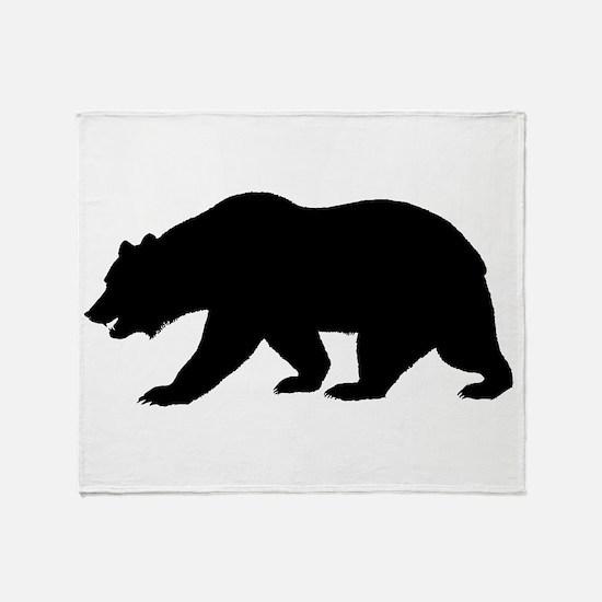 Black California Bear Throw Blanket