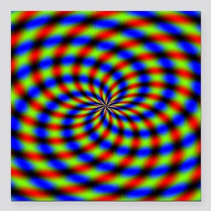 """Psychedelic 1 Square Car Magnet 3"""" x 3"""""""