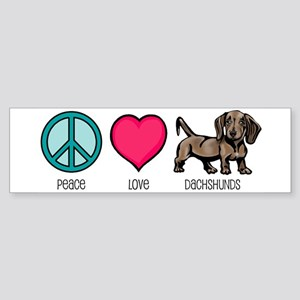 Peace Love & Dachshunds Bumper Sticker