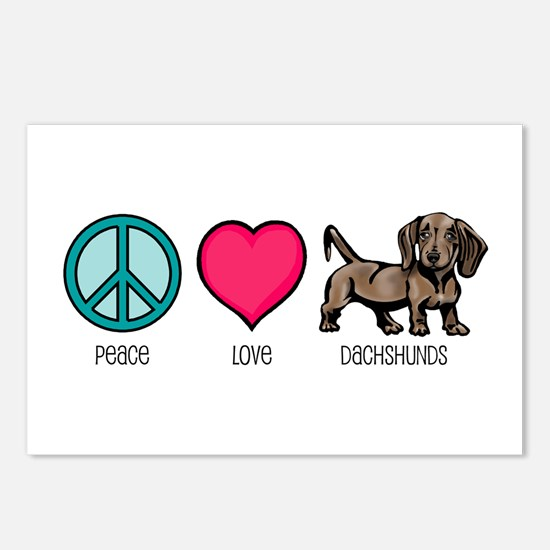 Peace Love & Dachshunds Postcards (Package of 8)