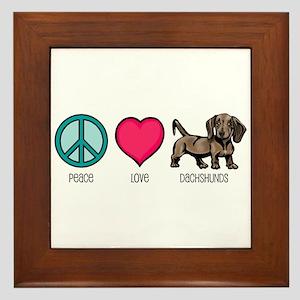 Peace Love & Dachshunds Framed Tile