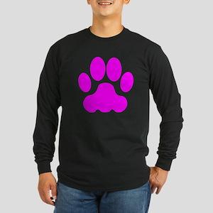 Pink Big Cat Paw Print Long Sleeve T-Shirt