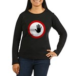 Restricted Access Sign Womens Long Sleeve Brown T-