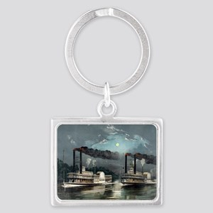 A midnight race on the Mississippi - 1890 Keychain