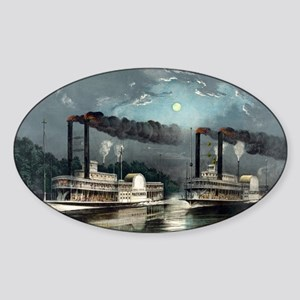 A midnight race on the Mississippi - 1890 Sticker