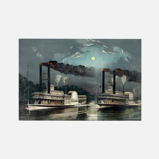 A midnight race on the Mississippi - 1890 Magnets