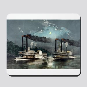A midnight race on the Mississippi - 1890 Mousepad