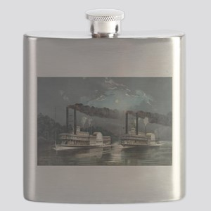 A midnight race on the Mississippi - 1890 Flask