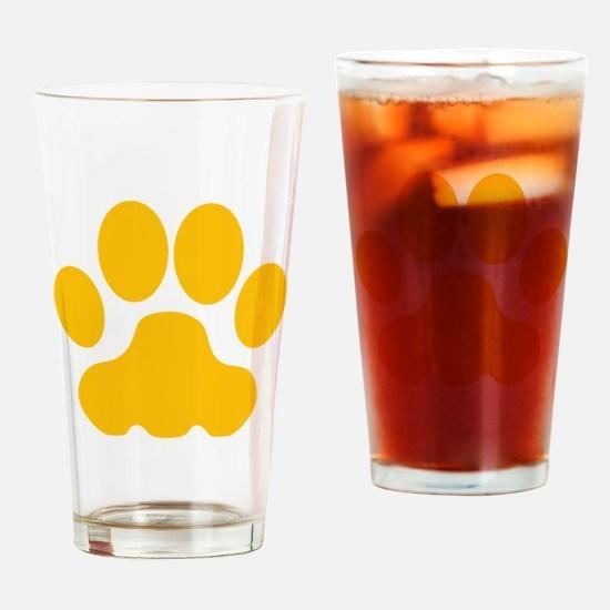 Orange Big Cat Paw Print Drinking Glass