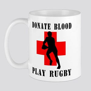 Donate Blood Play Rugby Mug