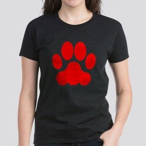Red Big Cat Paw Print T-Shirt