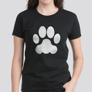 White Big Cat Paw Print T-Shirt