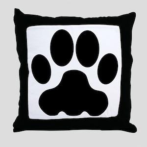 Black Big Cat Paw Print Throw Pillow