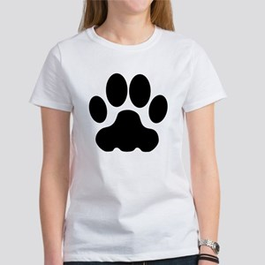 Black Big Cat Paw Print T-Shirt
