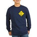 Dangerous Curves Sign Long Sleeve Blue T-Shirt